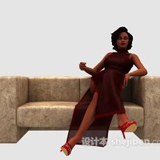 性感红衣美女3d模型下载