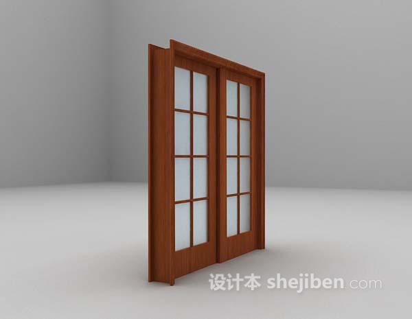 推拉式木质门3d模型下载