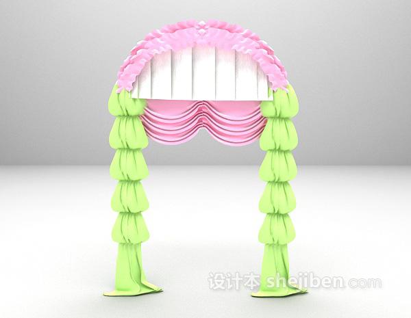 清新风格窗帘3d模型下载