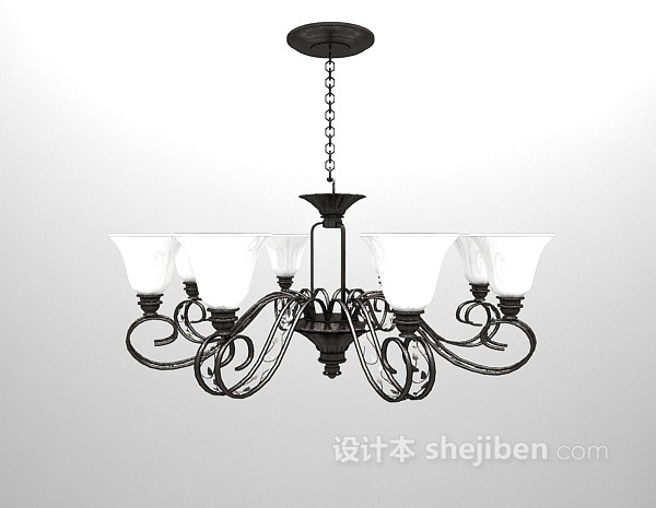 铁艺白色吊灯3d模型下载