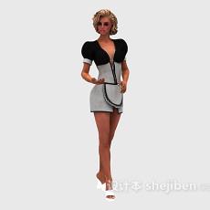 时尚美女欣赏3d模型下载