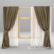 木窗窗帘3d模型下载