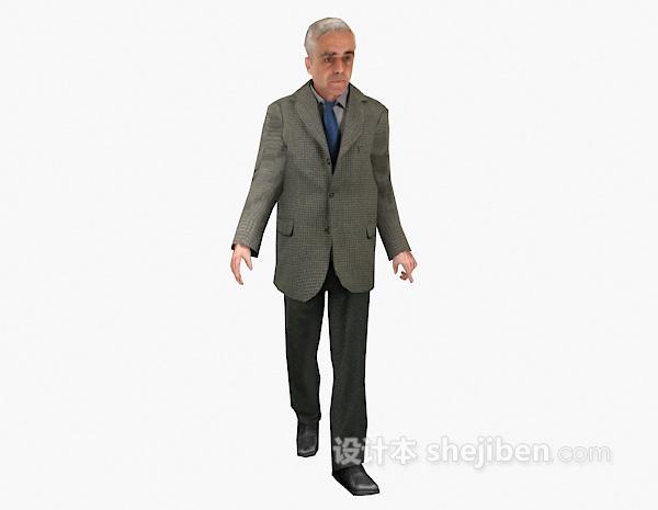 老人走姿3d模型下载