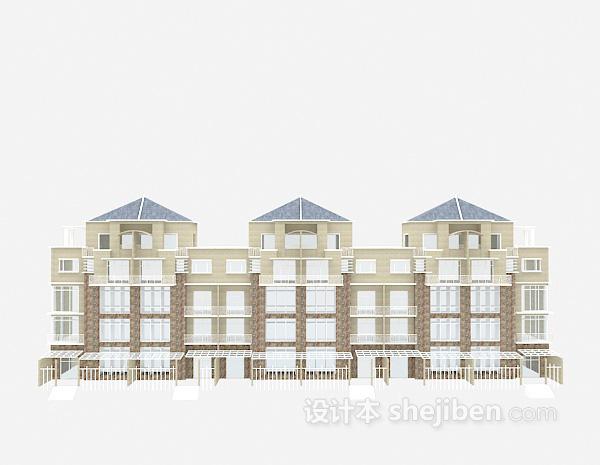 联排欧式别墅3d模型下载