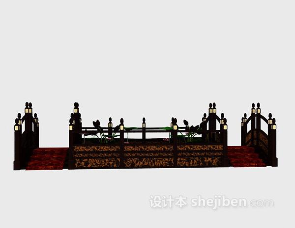 中式室内小桥模型3d下载