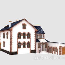 蓝色欧式别墅3d模型下载