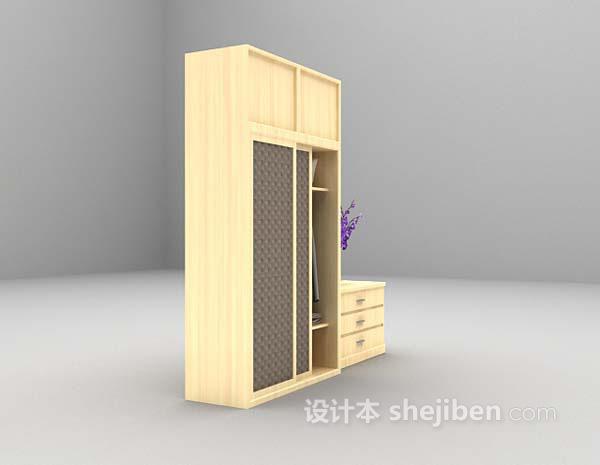 木质衣柜3d模型下载
