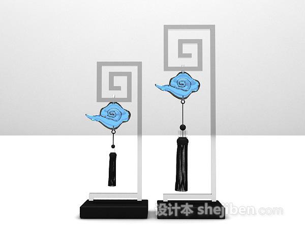 中式铁艺云霓摆件3d模型下载