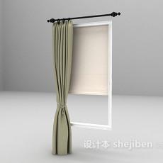 灰色小窗窗帘3d模型下载