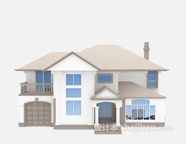 欧式灰白别墅3d模型下载