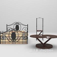 铁艺床组合3d模型下载