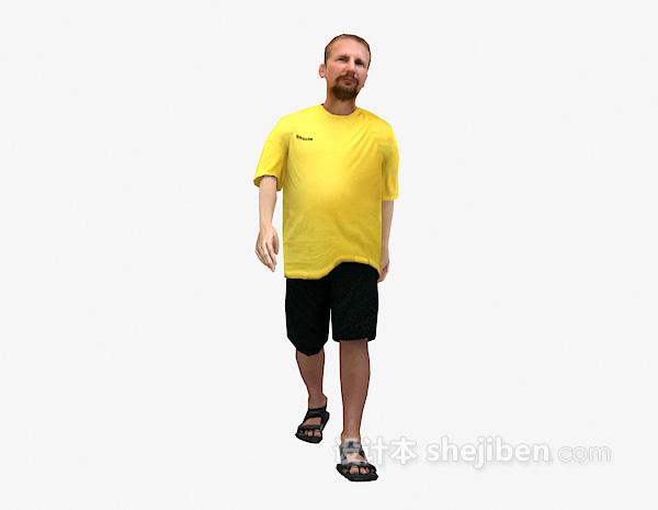 黄色衣服走姿3dmax人物模型下载