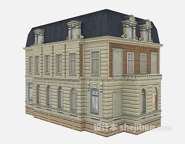欧式蓝色屋顶别墅3d模型下载