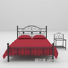 红色铁艺床3d模型下载
