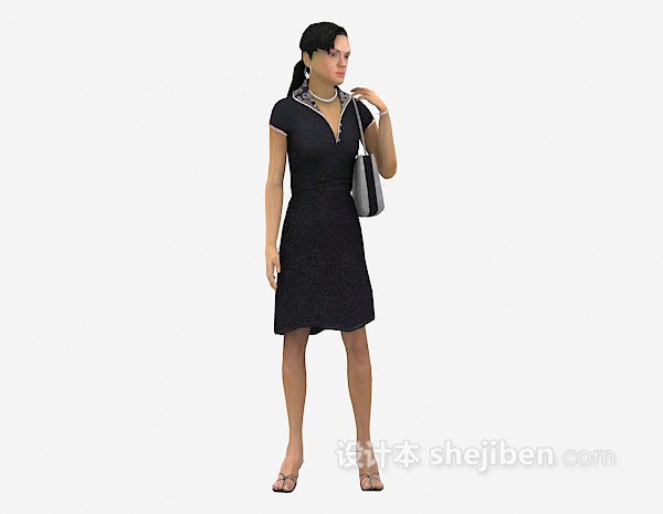 拎包女人3d模型下载