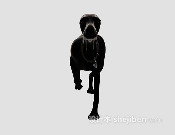 黑色狗动物模型 3d模型下载