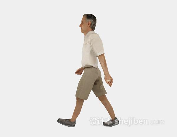 老人走姿3d人物模型下载