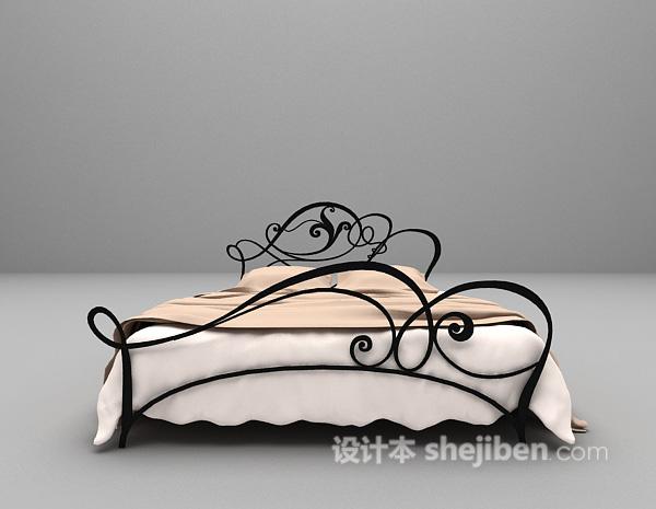金属双人床3d模型下载