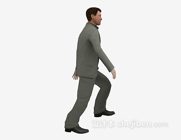 穿西装男人走姿3d模型下载