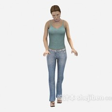 低头女人3d模型下载