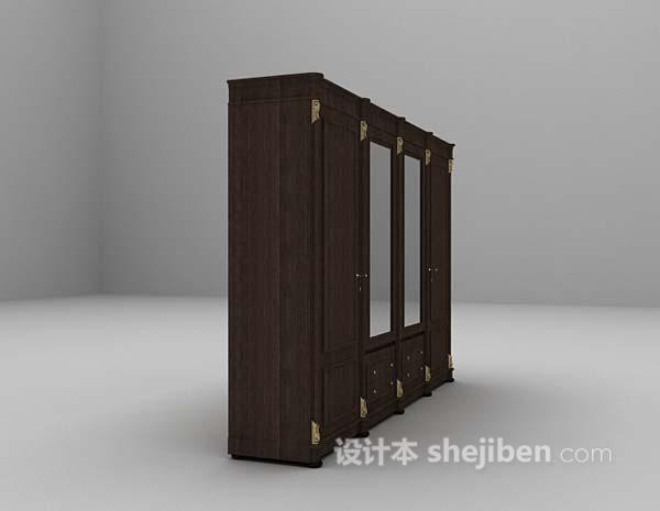 黑色衣柜3d模型下载