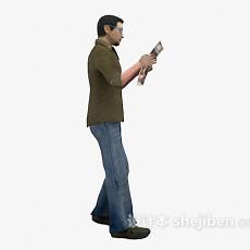 看报纸的男人3d模型下载