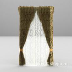 欧式豪华窗帘3d模型下载