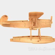 木质飞机玩具3d模型下载