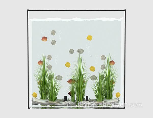 玻璃鱼缸3d模型下载