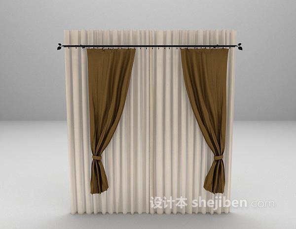 简约现代窗帘3d模型下载