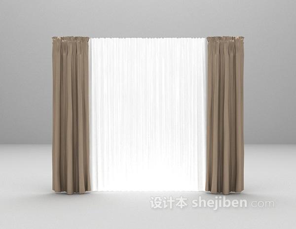 灰色窗帘3d模型下载