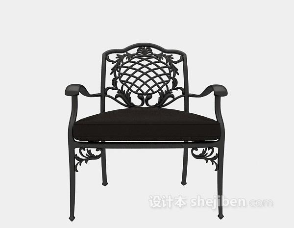 欧式铁艺皮质单椅3d模型下载