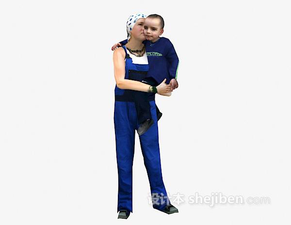 抱小孩女人3d模型下载