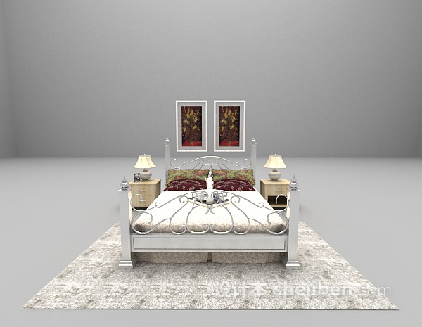 简约欧式卧室模型下载