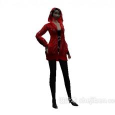 红色衣服女孩3d模型下载