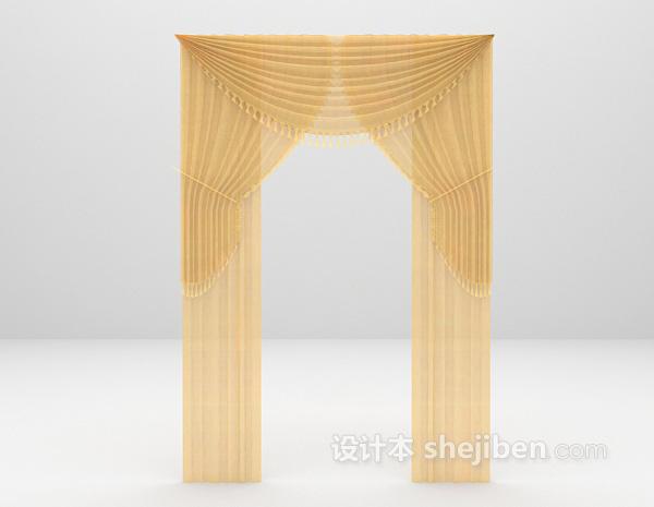 透光欧式窗帘3d模型下载
