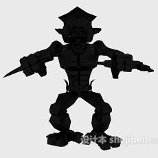 黑色机器人3d模型下载