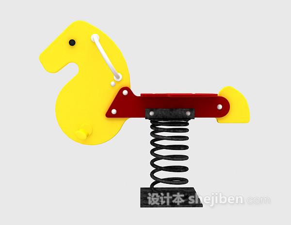 儿童模型玩具弹簧马3d模型下载