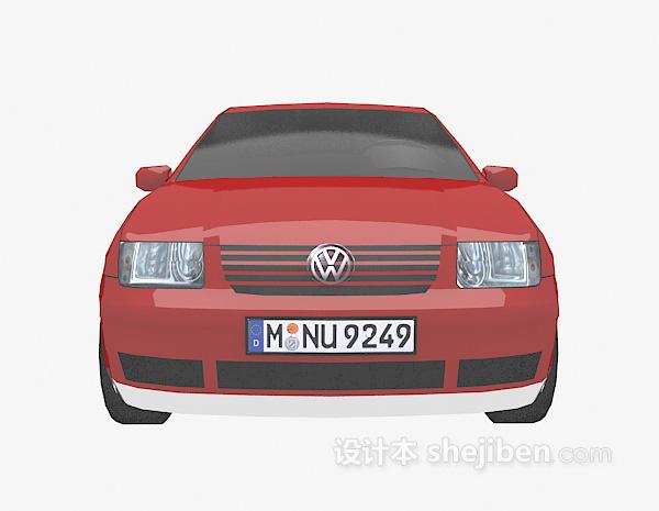 红色大众车的模型3d下载