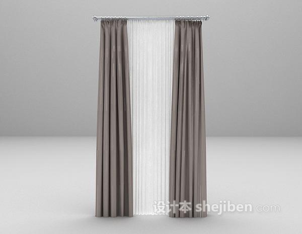 简约灰色窗帘3d模型下载