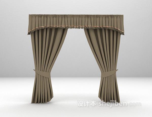 欧式灰色窗帘3d模型下载