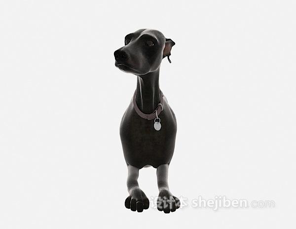 黑色狗动物模型 3d模型