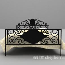 铁艺材料双人床3d模型下载