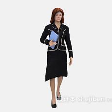 行走中的职业女性3d模型下载
