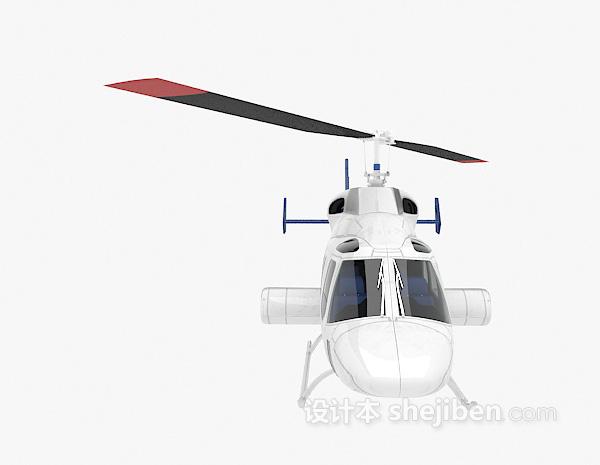 蓝色直升机3d模型下载