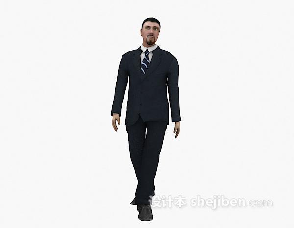 行走中的西装男士3d模型下载