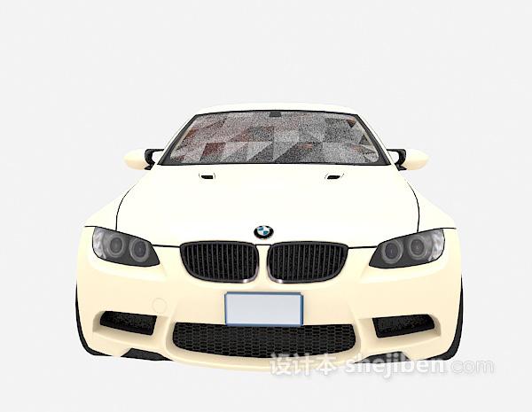 米白色小车3d模型下载