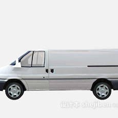 白色面包车车3d模型下载