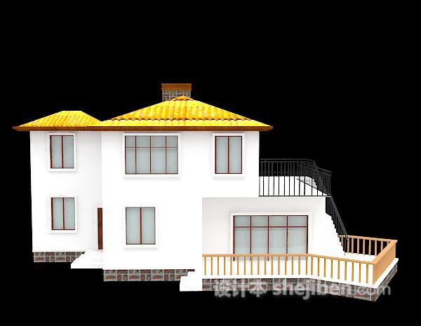白色的别墅模型3d下载