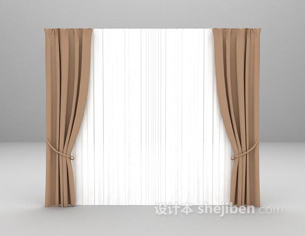 双层窗帘3d模型下载